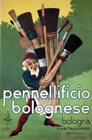 Advertising poster of the old Pennellificio Bolognese in the early years of 1900, at the origins of SIT Tecnospazzole