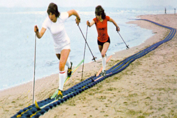 Cross-country skiers on the beach of Riccione (Emilia Romagna)