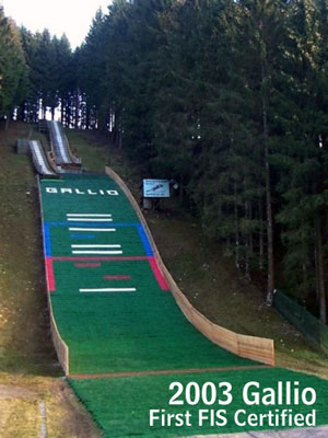 Landing strip for ski jumping manufactured by Società Italiana Tecnospazzole in 2003 in Gallio