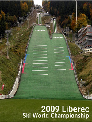 Landing strip for ski jumpers manufactured by SIT in Liberec (Czech Republic) for the Ski World Championship in 2009