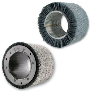 SIT cylindrical spiral brushes (welded on top, on tube flanged at the bottom) for satin finishing and superficial treatment of steel, aluminum and alloys