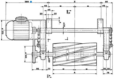 Technical Drawing of Brushing Unit USLT 4
