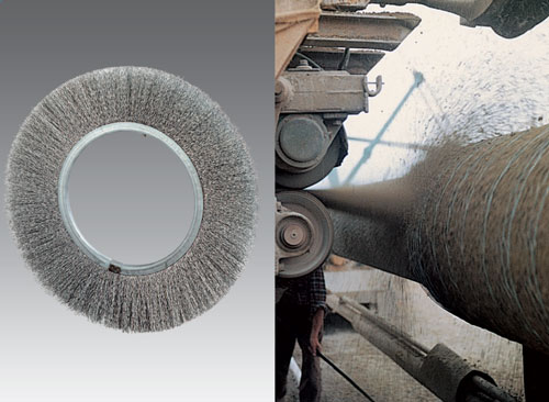 Brush wheel crimped wire applied to concrete coating, tube coating