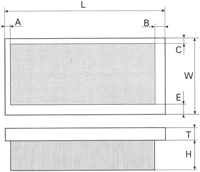 Technical Drawing of Linear Punched Brushes