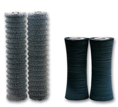 Cylindrical brushes shaped in abrasive nylon and other filaments by SIT